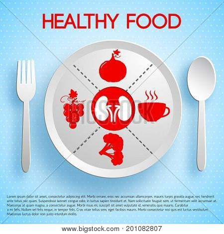 Healthy food concept with plate fork spoon product icons valuable for lungs on blue background vector illustration