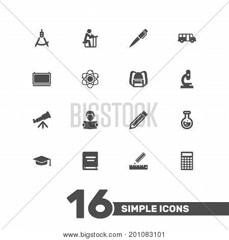Collection Of Reading, School Autobus, Microbiology And Other Elements.  Set Of 16 Studies Icons Set.