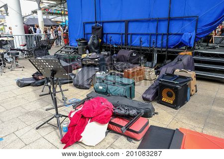London UK - July 17 2017: Music equipment backstage. Shows lots of gear in bags and cases.