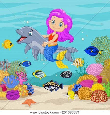 Vector illustration of Cute mermaid with dolphin in the underwater background