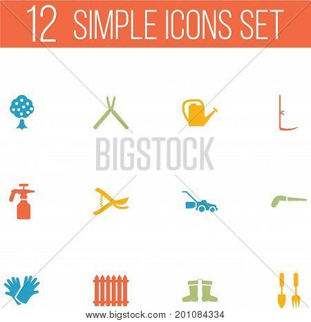 Collection Of Hacksaw, Watering Can, Cutter And Other Elements.  Set Of 12 Horticulture Icons Set.