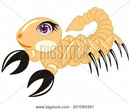 Cartoon insect scorpion on white background is insulated