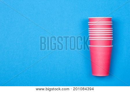 recycling colorful paper glass on the blue background