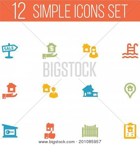 Collection Of Broker, Home, Hypothec And Other Elements.  Set Of 12 Property Icons Set.