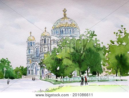 Russia city of Kronstadt drawing watercolor Nikolsky Naval Cathedral in the afternoon