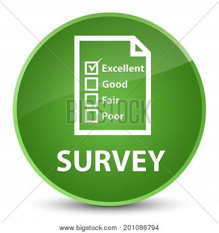 Survey (questionnaire Icon) Elegant Soft Green Round Button
