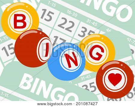 Drawing Style Bingo Lottery Balls Over Green Bingo Cards Background