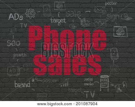 Marketing concept: Painted red text Phone Sales on Black Brick wall background with Scheme Of Hand Drawn Marketing Icons