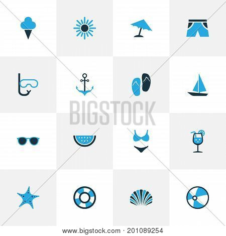 Season Colorful Icons Set. Collection Of Shorts, Boat, Ball And Other Elements