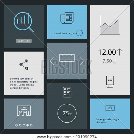 Collection Of Social Media Ads, Client Brief, Stand Elements.  Set Of 8 Trade Outline Icons Set.