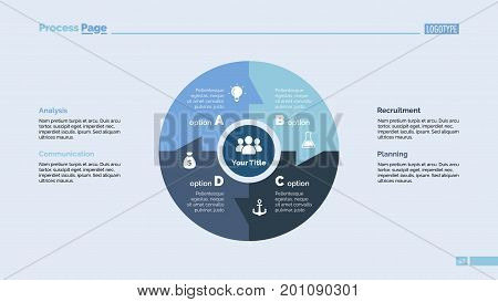 Four linked sectors of circle process chart slide template. Business data. Graph, diagram, design. Concept for infographic, presentation. Can be used for topics like management, strategy, teamwork.