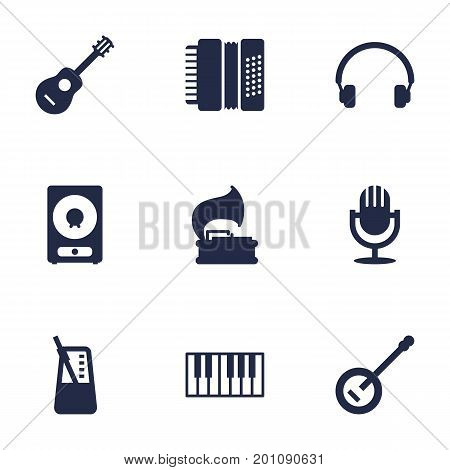 Collection Of Amplifier, Banjo, Rhythm Motion And Other Elements.  Set Of 9 Melody Icons Set.