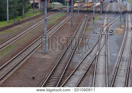 Railway track, rails and sleepers road. Transport technology.