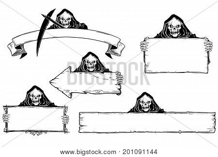 Set of halloween frames and empty signs with hand drawing grim reaper illustration