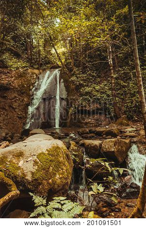Waterfall In The Jungle Tropical Rainforest Landscape. Malaysia, Asia, Borneo, Sabah