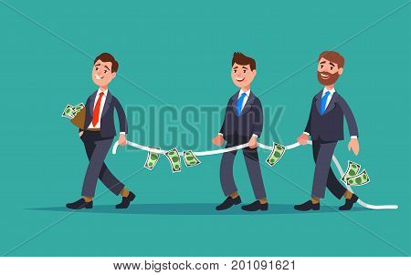 Financial advisor professional leads the rope with the money a group of businessman need of financial assistance. Design concept financial support and assistance cartoon style