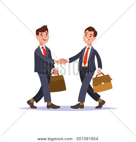 The meeting of two businessmen and business handshake. Greeting business partners and people interactions. Handshake of two men