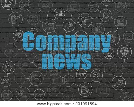 News concept: Painted blue text Company News on Black Brick wall background with Scheme Of Hand Drawn News Icons