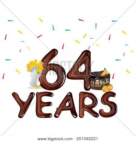 Happy Birthday sixty four 64 year. Vector illustration