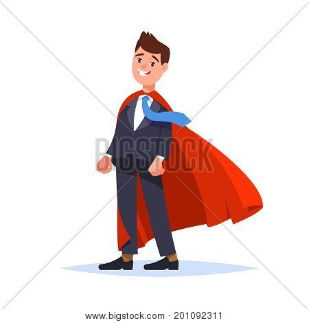 Vector illustration of young businessman standing in business suit and red cape. Business man superhero isolated