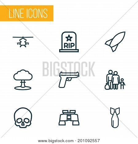 Army Outline Icons Set. Collection Of Fugitive, Rip, Weapon And Other Elements