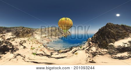 Computer generated 3D illustration with a spherical 360 degrees seamless panorama of fantasy hot air balloon and coastal landscape