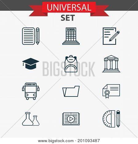 Education Icons Set. Collection Of Paper, Taped Book, Document Case And Other Elements