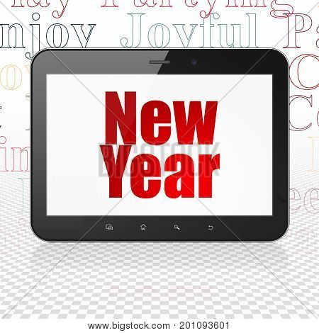 Holiday concept: Tablet Computer with  red text New Year on display,  Tag Cloud background, 3D rendering