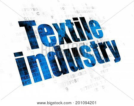 Industry concept: Pixelated blue text Textile Industry on Digital background