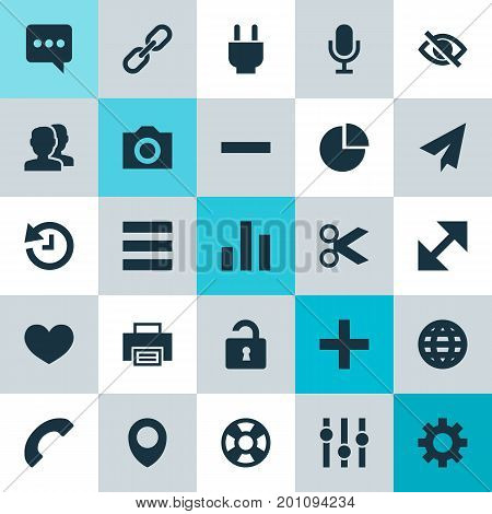 User Icons Set. Collection Of People, Pie Chart, Photo And Other Elements