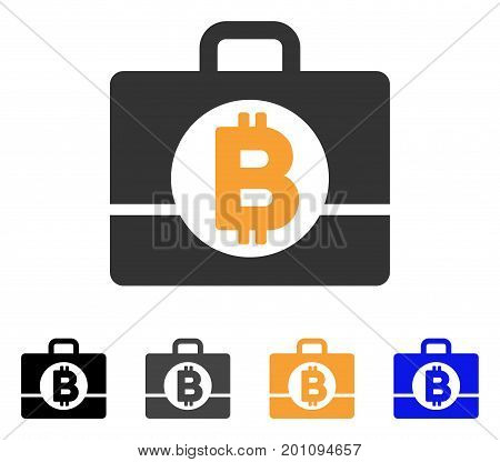 Bitcoin Accounting Case icon. Vector illustration style is flat iconic symbol with black, gray, orange, blue color variants. Designed for web and software interfaces.