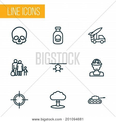 Army Outline Icons Set. Collection Of Venom, Atomic Bomb, Officer And Other Elements