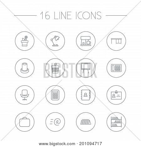 Collection Of Badge Id, Pencil, Table Lamp And Other Elements.  Set Of 16 Bureau Outline Icons Set.