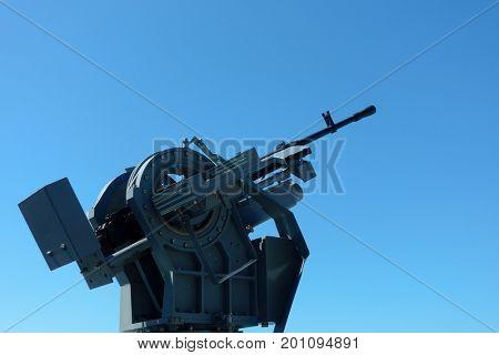 Machine gun on a warship