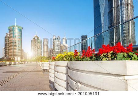 China Shanghai landmark and tourist viaduct above