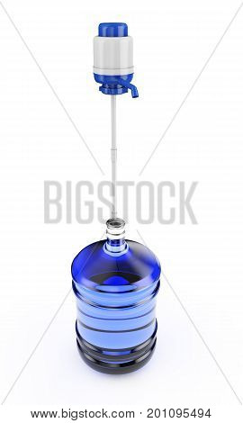 big plastic barrel gallon bottle for office water cooler. 3D render isolated on white background.