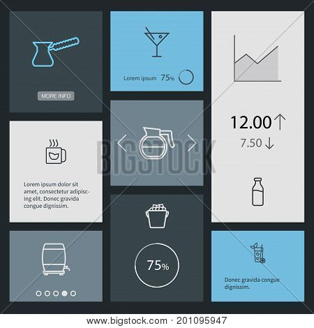 Collection Of Mojito, Coffeepot, Ice Bucket And Other Elements.  Set Of 8 Drinks Outline Icons Set.