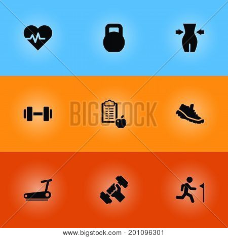 Collection Of Barbell, Regime, Running And Other Elements.  Set Of 9 Bodybuilding Icons Set.