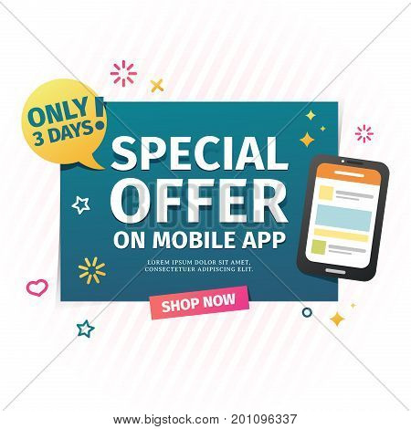 Design of a flat banner for an special offer in the mobile application. A sale web banner for online shopping with a decor of smartphone and geometric shape. Vector