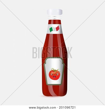 Italian tomato sauce, seasoning or juice plastic bottle mockup or  vector template. The flag of Italy and tomato happy face mascot or character on it. Neapolitan sauce or salsa bottle icon.