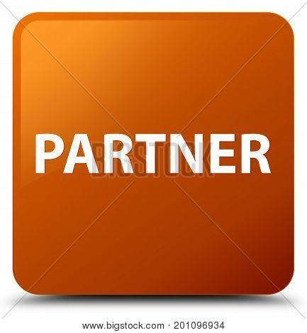 Partner Brown Square Button