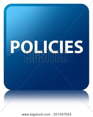 Policies Blue Square Button