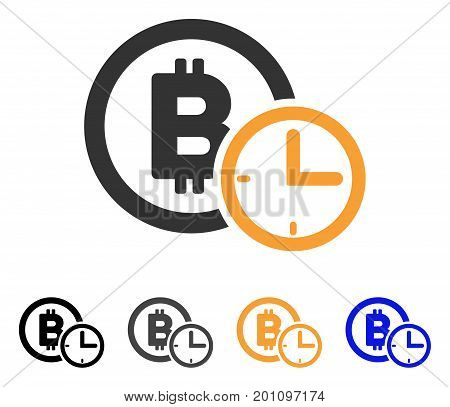 Bitcoin Credit Time icon. Vector illustration style is flat iconic symbol with black, gray, orange, blue color variants. Designed for web and software interfaces.