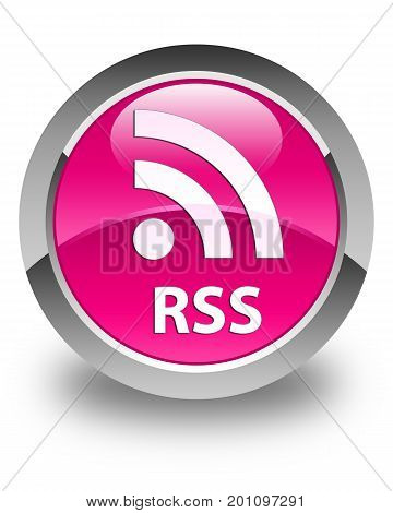Rss Glossy Pink Round Button