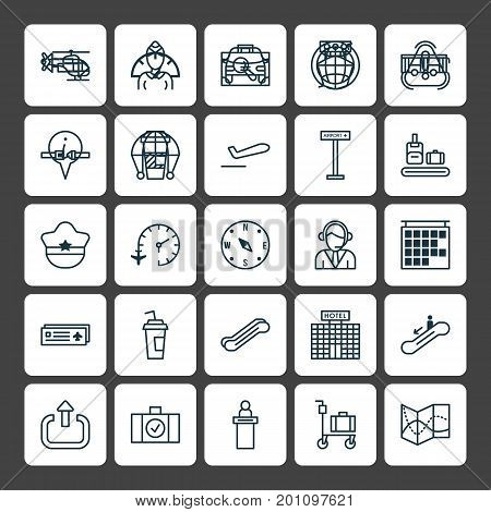Airport Icons Set. Collection Of Takeaway Coffee, Exit, Pilot Hat And Other Elements