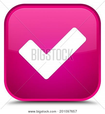 Validate Icon Special Pink Square Button
