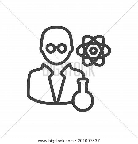 Vector Scientist Element In Trendy Style.  Isolated Scholarly Outline Symbol On Clean Background.