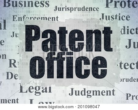 Law concept: Painted black text Patent Office on Digital Data Paper background with   Tag Cloud