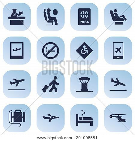 Collection Of Handicap, Forbidden, Passport Elements.  Set Of 16 Aircraft Icons Set.