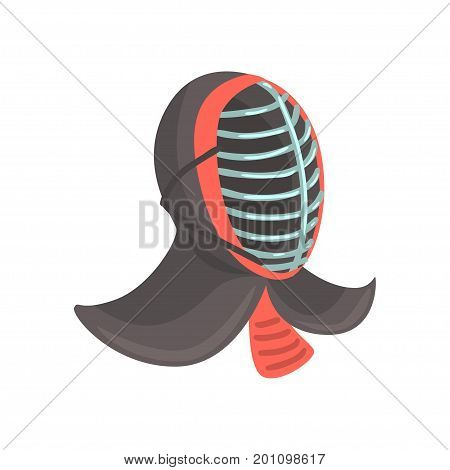 Japanese fencing mask to practice kendo, Japanese martial art cartoon vector Illustration on a white background